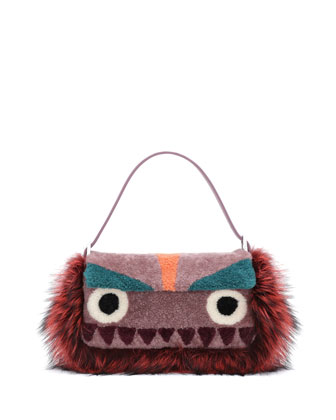 Baguette Shearling Fur Monster Bag, Purple Multi