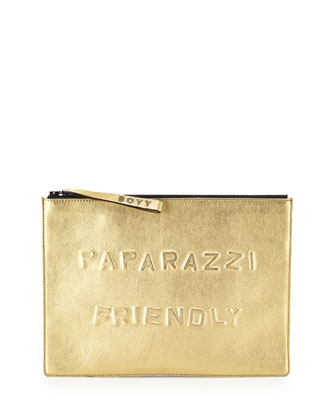 Paparazzi Friendly Alphabet Metallic Clutch Bag, Gold