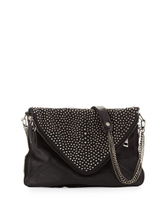 Slash Gun Metal Pearl- Envelope Chain Shoulder Bag, Black