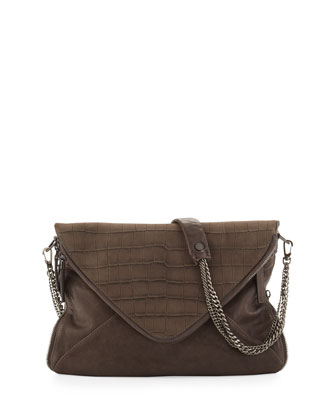 Slash Croc-Embossed Envelope Bag, Mole