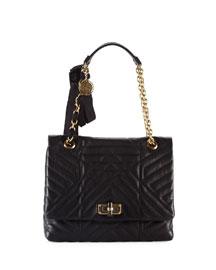 Happy Quilted Leather Medium Shoulder Bag, Black