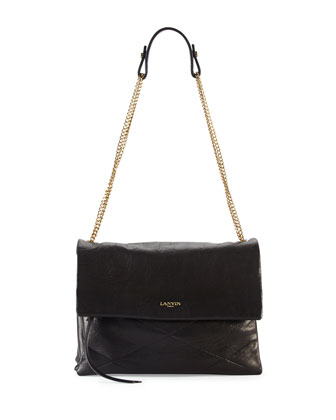 Sugar Lambskin Shoulder Bag, Black