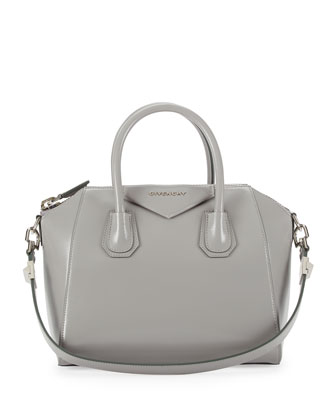 Antigona Small Box Calf Satchel Bag, Gray