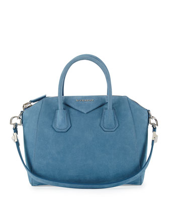 Antigona Small Nubuck Satchel Bag, Blue