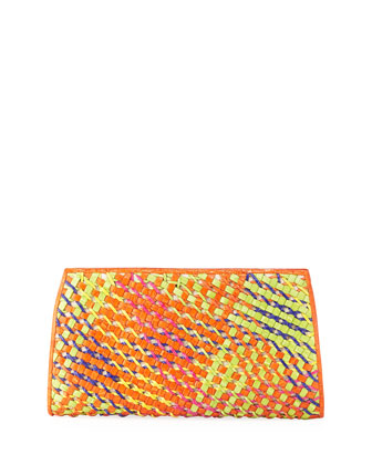 Woven-Front Crocodile Clutch Bag, Orange
