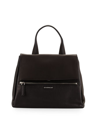 Pandora Medium Waxy Leather Satchel Bag, Black