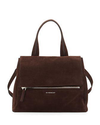 Pandora Pure Medium Nubuck Satchel Bag, Chocolate