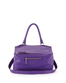 Pandora Medium Leather Shoulder Bag, Purple