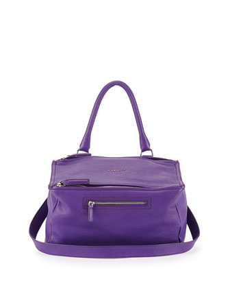 Pandora Medium Sugar Leather Satchel Bag, Purple