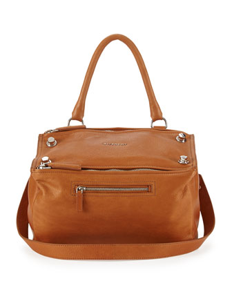 Pandora Medium Leather Shoulder Bag, Hazel