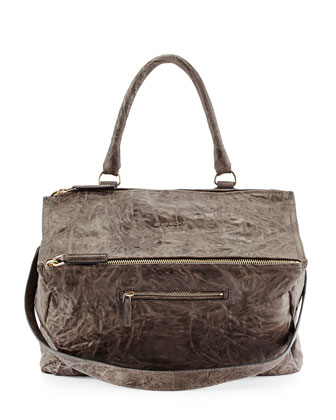 Pandora Large Leather Satchel Bag, Charcoal