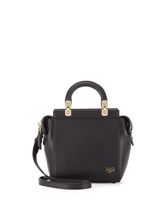 HDG Top-Handle Mini Leather Crossbody Bag, Black