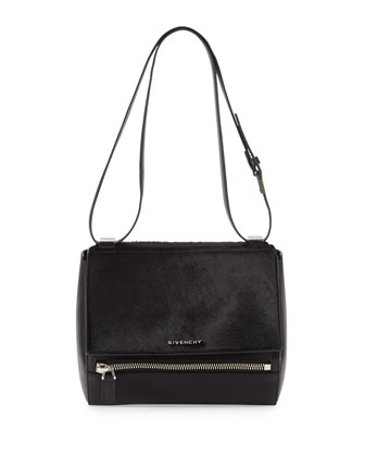 Pandora Box Medium Leather Shoulder Bag, Black