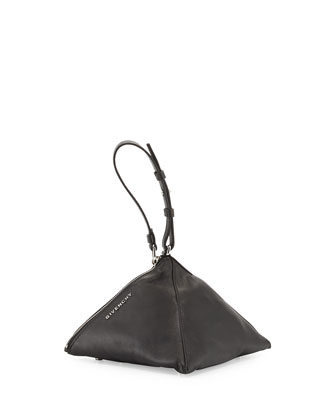Triangle Mini Nappa Leather and Studs Wristlet, Black