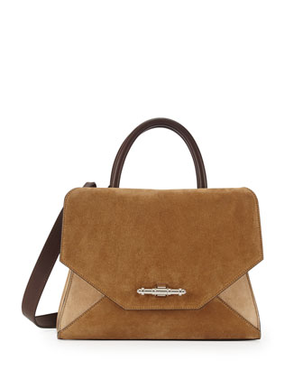 Obsedia Top-Handle Small Suede Satchel Bag, Brown, Tan