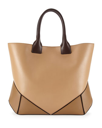 Easy Tricolor Leather Tote Bag, Camel Multi