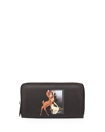 Zip-Around Long Leather Wallet, Bambi Print