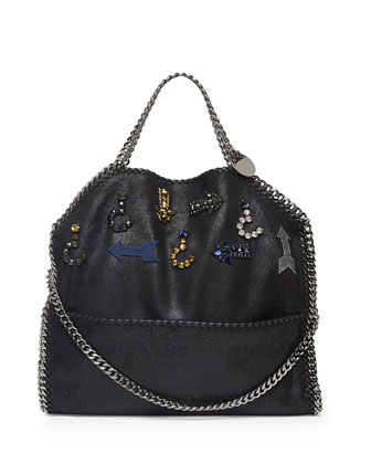 Falabella Fold-Over Crystal Shoulder Bag, Black