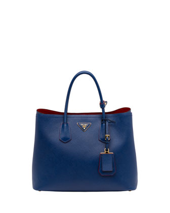 Saffiano Cuir Double Bag, Blue