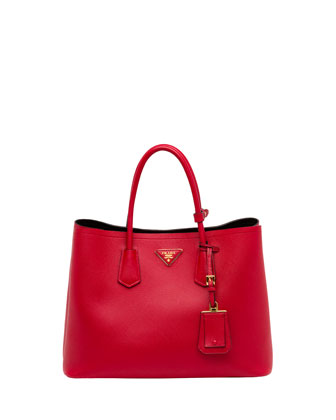 Saffiano Cuir Double Bag, Red (Fuoco)