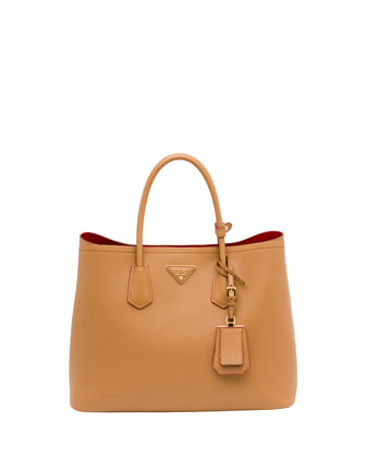 Saffiano Cuir Small Double Bag, Camel (Caramel)