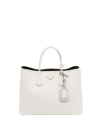 Saffiano Cuir Double Bag, White