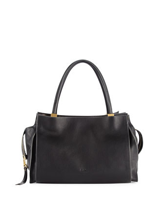 Dree East-West Leather Satchel Bag, Black