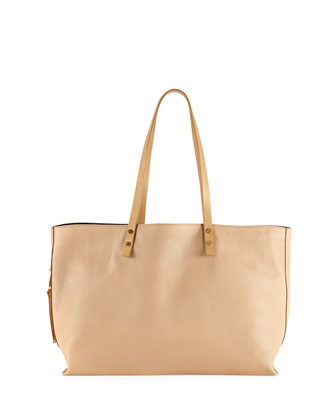 Dilan East-West Leather Tote Bag, Beige