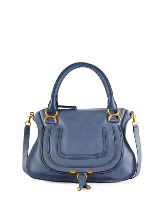 Marcie Medium Satchel Bag, Medium Blue