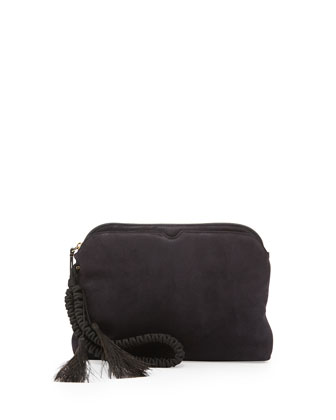 Suede Wristlet Clutch Bag with Horsehair Tassels, Navy
