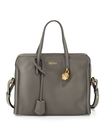 Skull Padlock Zip-Around Satchel Bag, Dark Gray