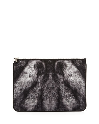 Large Fur-Print Skull Zip Pouch, Gray/Black
