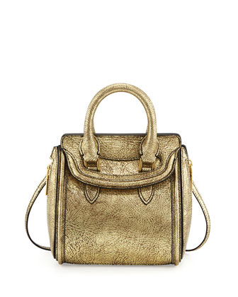 Heroine Mini Metallic Satchel Bag, Gold