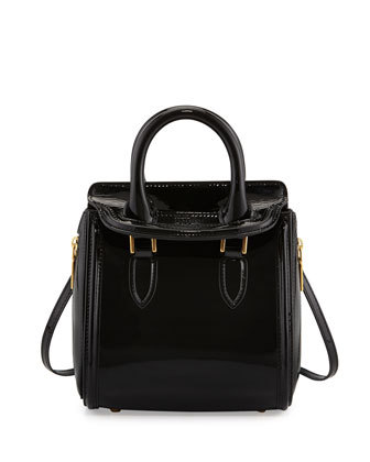 Heroine Mini Patent Satchel Bag, Black