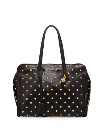 Studded Padlock Zip-Around Satchel, Black