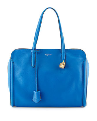 Skull Padlock Zip-Around Tote Bag, Cobalt Blue