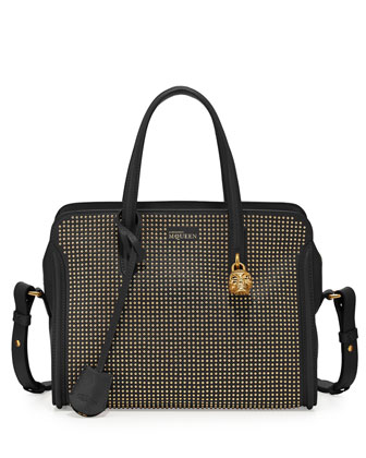 Micro-Stud Padlock Zip-Around Satchel, Black