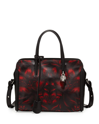 Tulip-Print Padlock Zip-Around Satchel Bag, Black/Red