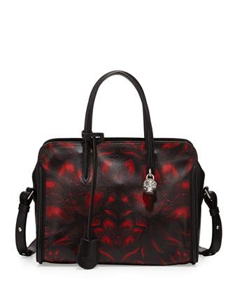 Tulip-Print Padlock Zip-Around Satchel Bag, Black/Red