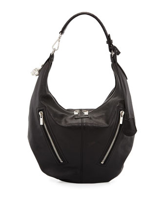 Padlock Small Biker Hobo Bag, Black