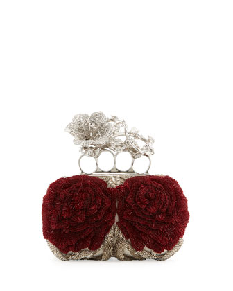 Beaded Flower Knuckle Box Clutch Bag