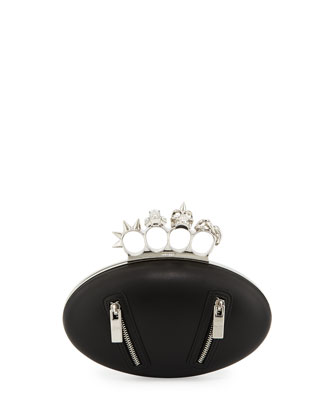 Biker Oval Knuckle Clutch Bag, Black