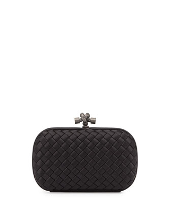 Woven Knot Clutch Bag, Black