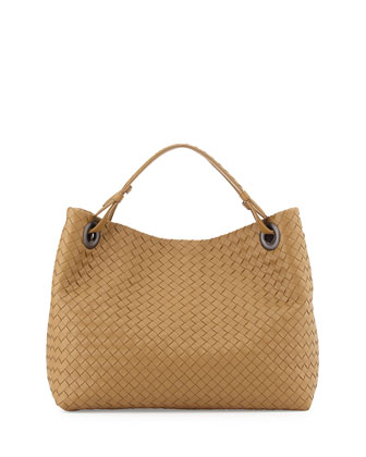 Medium Intrecciato Shoulder Bag, Sand