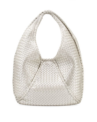 Cervo Large Metallic Hobo Bag, Pearl White