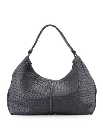 Cervo Large Metallic Shoulder Bag, Gunmetal