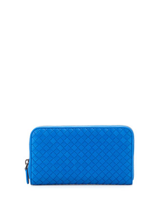Intrecciato Continental Zip-Around Wallet, Cobalt Blue