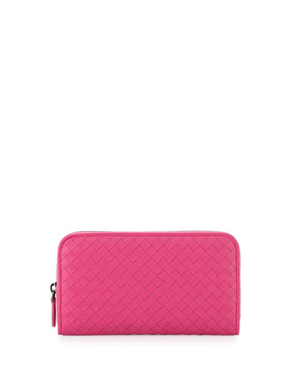 Continental Zip-Around Wallet, Hot Pink