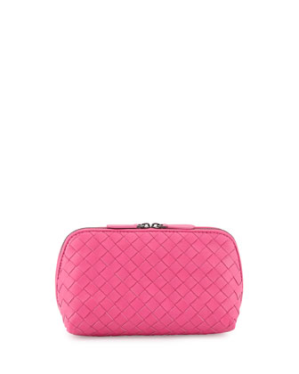 Intrecciato Medium Cosmetic Case, Hot Pink