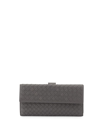 Woven Continental Flap-Tab Wallet, Gray
